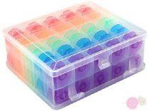 Orsótartó doboz 50 db színes műanyag orsóval