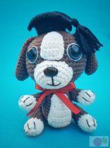 Horgolt ballagós kutyus piros masnival