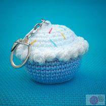 Horgolt fagyi muffin kék